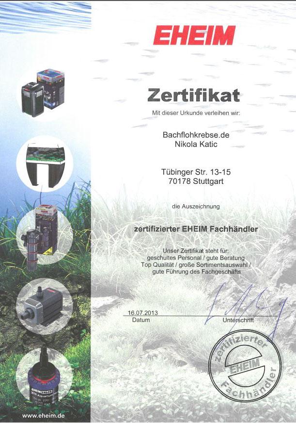 Eheim Zertifikat