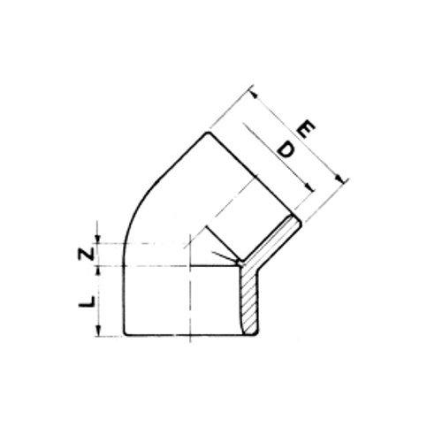 pvc winkel 45 grad 16 at kiwa teichbau fittinge. Black Bedroom Furniture Sets. Home Design Ideas